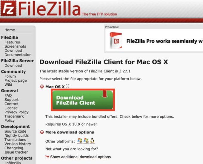 filezillaのダウンロード方法