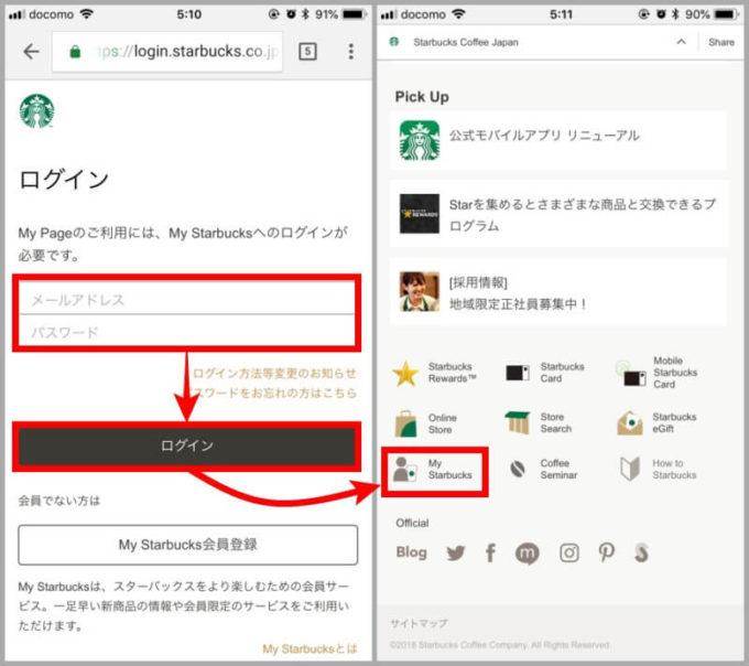 My Starbucksのログイン画面