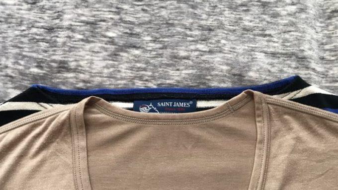 バスクシャツとヒートテックのVネックを重ねて襟周りを比較