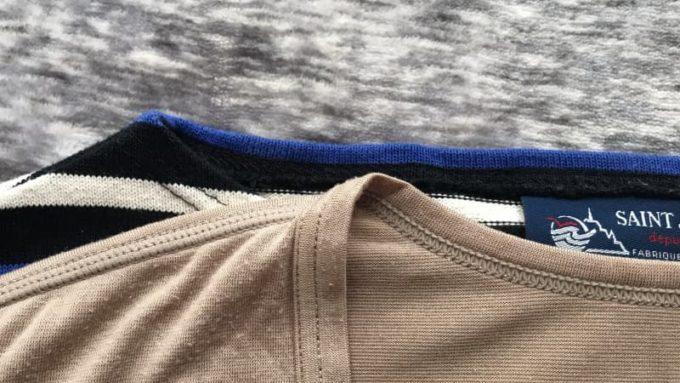 バスクシャツとヒートテックのVネックを重ねて首元を比較
