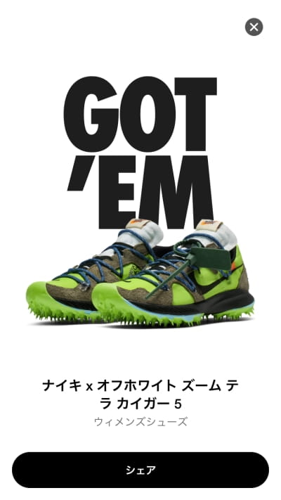 Off White Nike Zoom Terra Kiger 5 (オフホワイト ナイキ ズーム テラカイガー5)はSNKRSの先行販売でゴッテム