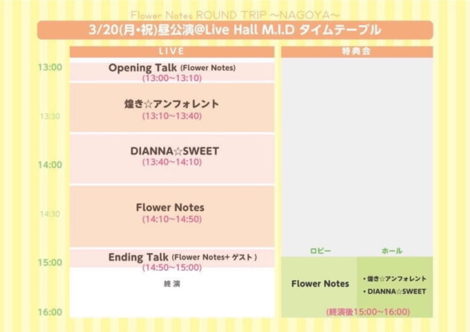 Flower Notes ROUND TRIP NAGOYAのタイムテーブル