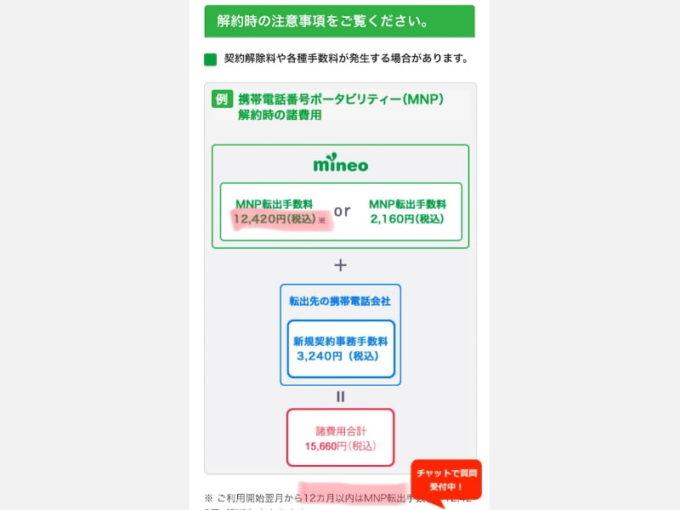 mineoでMNP転出する方法 注意事項として、利用が12ヶ月以内だと手数料が高い。