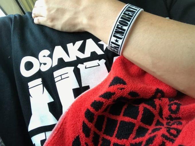 キラフォレのリストバンド、大阪春夏秋冬のTシャツ、わーすたのタオルに身にまとう