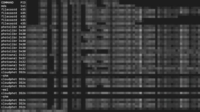 ターミナルで実行中のプログラムを「sudo lsof コマンド」で調べた画面