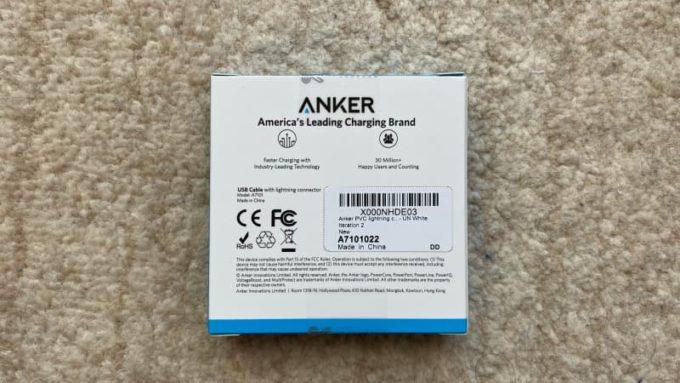 Ankerのライトニングケーブル 外箱 コスパ最強