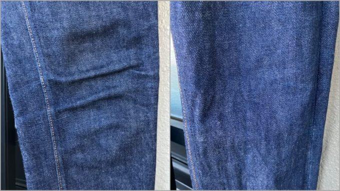APCデニム ひざの色落ち 左が洗濯前 右が洗濯後