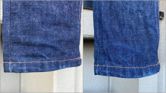 APCデニム 裾の色落ち 左が洗濯前 右が洗濯後