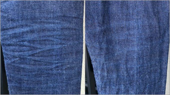 APCデニム ひざ裏の色落ち 左が洗濯前 右が洗濯後