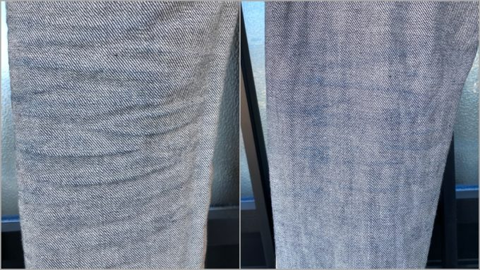 APCデニム 裏側のひざの色落ち 左が洗濯前 右が洗濯後