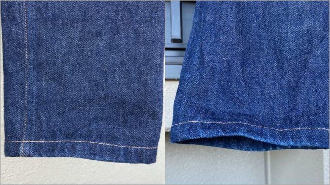 セカンドウォッシュのA.P.C.デニム 裾の色落ち 左が洗濯前 右が洗濯後